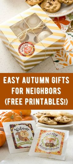 Celebrate autumn with these fun and sweet DIY gifts for neighbors! They are so easy to assemble, and everyone will love the homemade vibe. Get free printables, too, including one for just moving in! via @modpodgerocks #GiveBakery #firstdayoffall