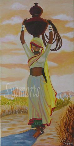 Original Painting, prints available, canvas art, acrylic painting, Indian woman, desert, water carrier,morning light, travel india,
