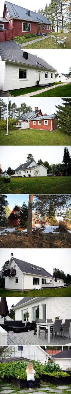 inspirera mera fasad fasadfärg cuprinol vitt måla hus villa liggande panel före efter 70 tals