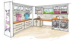 Pourquoi ne pas y installer une vraie salle de lavage, spacieuse et ergonomique? Home Deco Furniture, Basement Furniture, Kitchen Furniture, Laundry Room Layouts, Laundry Room Design, Mudroom Cabinets, Landry Room, Built In Storage, Cupboard Wardrobe