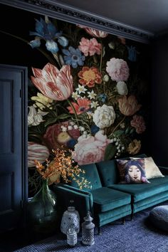 Items similar to Dutch Floral Wallpaper Elegant Flower Wall Murals Baroque Florals Bouqet Wall Print Still Life Home Decor Cafe Design on Etsy Living Room Decor, Bedroom Decor, Wall Decor, Floral Bedroom, Mural Wall, Wall Murals Bedroom, Living Room Murals, Deco Baroque, Wallpaper Decor