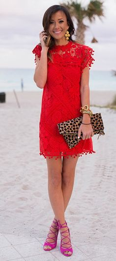 Lace Red Dress + Pink Heels
