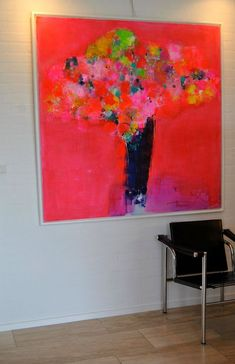 Painting Abstract, Botanical, Colorful, Pink, Neon Pink - Red In Red -
