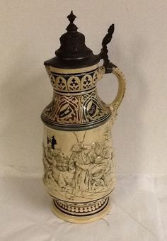 "Vintage Lidded Large German Beer Stein 18.5"" Kecht Freiheit Beer Pub Scene"
