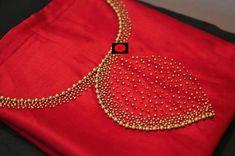 Red Hand work Silk K urti Embroidery On Kurtis, Kurti Embroidery Design, Hand Embroidery Dress, Embroidery Neck Designs, Embroidery Works, Simple Embroidery, Hand Embroidery Patterns, Beaded Embroidery, Churidhar Designs