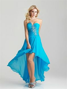 High Low One Shoulder Sweetheart Beaded Chiffon Prom Dress PD1094 www.homecomingstore.com $165.0000