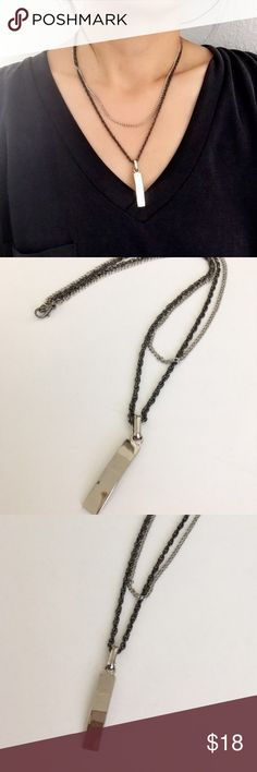 """Trendy Handmade Double Chain Metal Bar Necklace Chic and classic two chain layered necklace with metal bar pendant. On trend silver flat bar adds flair while the different textures, lengths, and colors of the two chains make this necklace unique. Great to wear with any outfit! New and full length is 19"""". HollyJ Jewelry Necklaces"""
