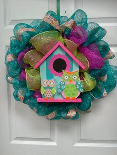 Mesh owl wreath