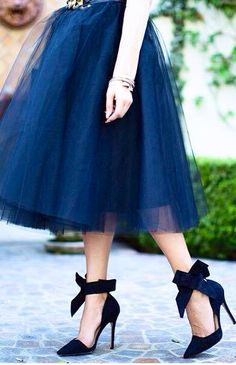 {Snorkel Blue} Navy Tulle Skirt Bow Heels