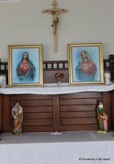 Creating a home altar, enshrining to the Sacred and Immaculate Hearts Home Altar Catholic, Prayer Corner, Blessed Mother Mary, Prayer Room, Sacred Heart, Farmhouse Decor, Family Prayer, Hopelessly Devoted, Alters