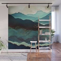 Indigo Mountains Wall Mural Wallpaper by Spacefrogdesigns - X Mountain Mural, Wal Art, Removable Wall Murals, Bedroom Wall, Wall Tapestry, Wall Decor, Diy Wall, Wallpaper, Decoration