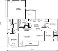 Traditional House Plan 45259 with 3 Beds, 2 Baths, 2 Car Garage Level One Porch Shelter, Wall Section Detail, Story Planning, Country Style House Plans, Traditional House Plans, Garden Tub, Roof Plan, Open Layout, Plan Design