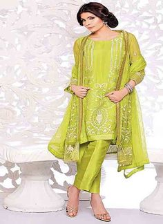 Refreshing Lime Green Coloured Straight Suit India's leading e-commerce marketplace