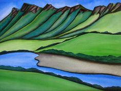 Tuki Tuki Valley by Raewyn Harris New Zealand Art, Nz Art, Maori Art, Watercolor Landscape Paintings, Kiwiana, Patterns In Nature, Contemporary Paintings, Line Drawing, Painting Inspiration