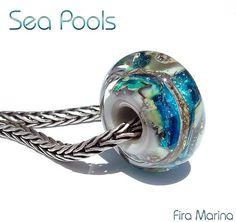 SEA POOLS  Glass Lampwork Bead  Charm Fits trollbeads by firamarina Ocean colors of blue, sand, aqua and silver. 3D beach design!