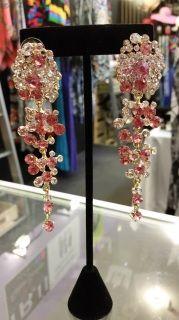 Pink Cluster Drop Earrings