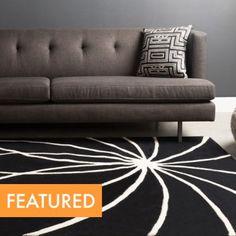 Modern Black + White Rugs White Rugs, Black White Rug, Modern Area Rugs, Contemporary Rugs, Modern Furniture, Sofa, Home Decor, Modern Rugs, Settee
