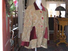 Jacket coat swing vintage chenille and cotton velvet by DATChameleon on Etsy Victorian Coat, Swing Coats, Cotton Velvet, Sari, Retro, Jackets, Tapestry, Vintage, Clothes