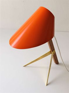 "Kalmar Vienna Table Lamp ""Billy"" With Orange Cone Lampshade 