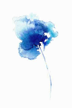 """Iris 4"" Abstract organic iris watercolour print in shades of blue and indigo by Asara Design."