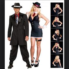 Gangster Wrap Five In One Costume - Womens Couples Halloween Costumes  sc 1 st  Pinterest & Bugsy Gangster Costume for Women - Party City | Mob Molls ...