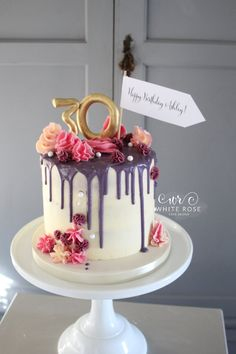 30 Marvelous Photo of Birthday Cake Design Birthday Cake Design Drippy Birthday Cake White Rose Cake Design 2 Soulasylum 30th Birthday Cake For Women, 26 Birthday Cake, Birthday Cake With Photo, Birthday Cake Decorating, Birthday Cake Designs, Birthday Bunting, Rose Cake Design, 30 Cake, Naked Cakes