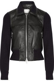 Paneled ribbed stretch-wool and leather jacket