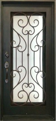 Single Wrought Iron Entry Door Noble Tempered Frosted Glass