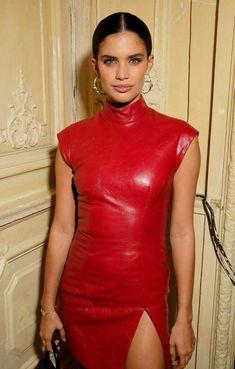 Women, Genuine Lamb Skin, Celebrity Vintage sexy, Leather Dress ,Made To order Red Leather Dress, Leather Dresses, Leather Outfits, Black Leather, Off Shoulder Fashion, Sara Sampaio, Latex Dress, Leather Fashion, Red Fashion