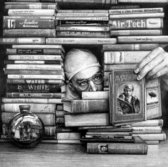 "Ethan Murrow, Speed reading quota enlarged during inclement weather 2009 graphite on paper 48""x48"""