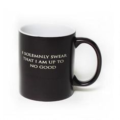 """The world of Harry Potter comes alive with this """"I Solemnly Swear...Mischief Managed"""" heat changing  mug. Fill this mug with hot liquid and the text changes from """"I Solemnly Swear That I Am Up To No Good"""" to """"Mischief Managed."""" This 11-ounce mug changes from black to a creamy, off white color, completing the transformation. This mug makes a great gift for any Harry Potter fan."""