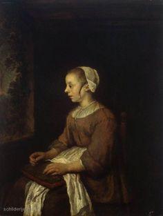 De afbeelding hierboven toont het schilderij De naaister door Philips Koninck. Het kunstwerk is geschilderd in 1671. Het schilderij van Philips Koninck is als geschilderde reproductie verkrijgbaar via Schilderij en Portret.