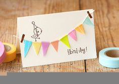 CARTE ANNIVERSAIRELove washi tape but not entirely sure what to do with it? We've got 8 great DIY card ideas using pretty Japanese masking tape. Handmade Birthday Cards, Diy Birthday, Happy Birthday Cards, Birthday Bunting, Birthday Gifts, Cute Cards, Diy Cards, Washi Tape Cards, Masking Tape