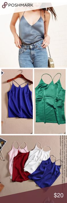 Silk tank Silk Tank Tops Women Luxury. Bust 38inch.  Solid  Color. 51% Silk.  Colors; red, green, champagne ❤️alba Tops Tank Tops