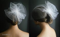 White Wedding Viel Full Birdcage Veil With Poof In White Color 13 Inches. $48.00, via Etsy.