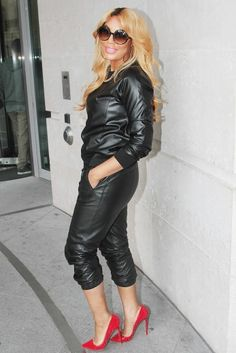 Black leather outfit and Christian Louboutin. (Worn By: Tamar Braxton)