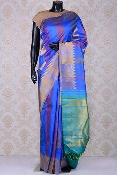 0d63cef0d5c9d Cobalt blue fine kanchipuram silk saree with dull gold border-SR19025 - Pure  Kanchipuram Real Zari - PURE HANDLOOM SILK SAREE - Sarees