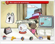 """""""Nos vamos de Vacaciones"""" es una aplicación de Educarex que trata, mediante actividades interactivas, sobre el conocimiento de los días de la semana, los meses del año, las estaciones, los estados del tiempo meteorológico y las vacaciones."""
