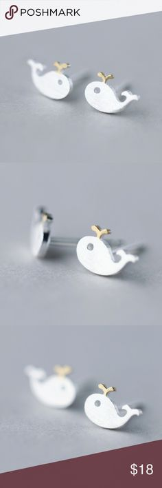 🐳 Mini Whale Post Earrings 925 Silver Mini Whale Sterling Silver(925) Earrings  Comes with rubber backings  NWT RETAIL BRAND NEW! NEVER WORN!    🚭 Trendy Jewels Jewelry Earrings
