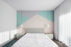 Frari – architecture network recently completed this stunning renovation of a single-family house in Albergaria-a-Velha, Portugal. Bedroom Wall Designs, Room Ideas Bedroom, Small Room Bedroom, Girls Bedroom, Bedroom Decor, Room Wall Painting, Room Paint, Decoration Design, New Room