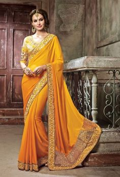 Yellow designer saree - Desi Royale