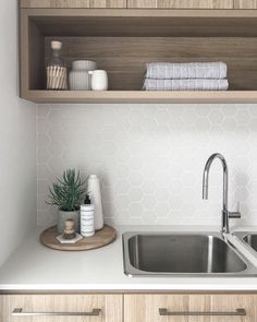 Who knew doing laundry could be so beautiful. We are crushing on this laundry by… Who knew doing laundry could be so beautiful. We are crushing on this laundry by featuring our laundry stainless sink and… Laundry Tubs, Small Laundry Rooms, Laundry In Bathroom, Basement Bathroom, Laundry Cupboard, Laundry Storage, Bathroom Ideas, Laundry Decor, Laundry Room Design