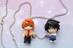 Death Note necklace with handmade clay charms by Akindoonline