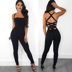 c9101b1e1419 Sexy Bandage Backless Rompers Tights Female Jumpsuits For Women 2018  Overalls Plus Size Playsuit Casual Black
