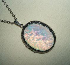 OPAL Necklace LOCKET Pendant Photo Holder GORGEOUS by artalot, $19.98
