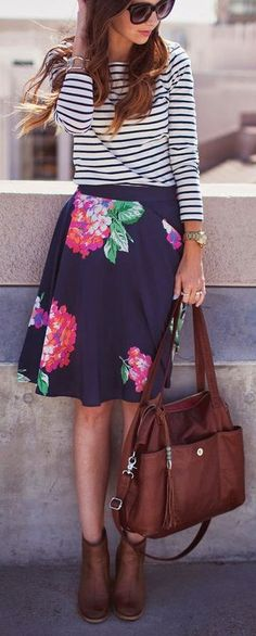 Mixing Prints - Floral Skirt + Striped Tee