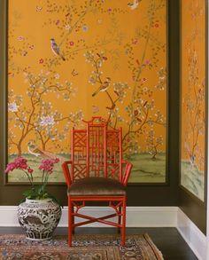 Orange Chinoiserie wallpaper panels, red pagoda chair, old rug - Interior design by: Schuyler Samperton Framed Wallpaper, Chinoiserie Wallpaper, Wallpaper Panels, Gracie Wallpaper, Chinoiserie Fabric, Chinoiserie Elegante, Asian Interior, Stylish Interior, Modern Interior