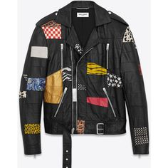 Saint Laurent Patchwork Motorcycle Jacket ($9,445) ❤ liked on Polyvore featuring men's fashion, men's clothing, men's outerwear, men's jackets, jackets, mens leather motorcycle jacket, mens leather jacket, mens leather moto jacket, mens leather biker jacket and mens studded leather jacket