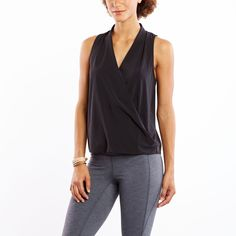 The destination is anywhere in this lightweight woven tank with drapey front v-neck. | lucy activewear summer collection