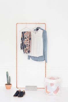 DIY copper and concrete coat rack - Heju